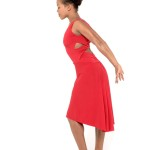 red jersey Simple Tango dress with criss cross top and draped back skirt
