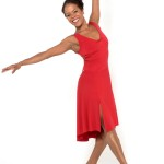 Simple RED Tango dress with criss cross top and draped back skirt