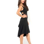 black jersey Simple Tango dress with criss cross top and draped back skirt