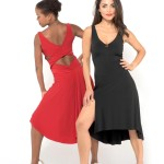 red and black Simple jersey Tango dress with criss cross top and draped back skirt