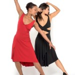 red and black jersey Simple Tango dress with criss cross top and draped back skirt