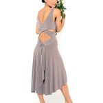 light grey jersey Simple Tango dress with criss cross top and draped back skirt