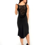 Simple Made in Italy handmade couture Draped back tango dress with lace