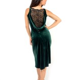 Velvet and fine lace Made in Italy handmade couture draped back dress forrest green