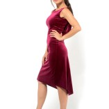 Velvet and silk lace draped back dress Made in Italy handmade couture bordeaux