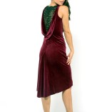 Velvet and fine lace draped back dress Made in Italy handmade couture bordeaux