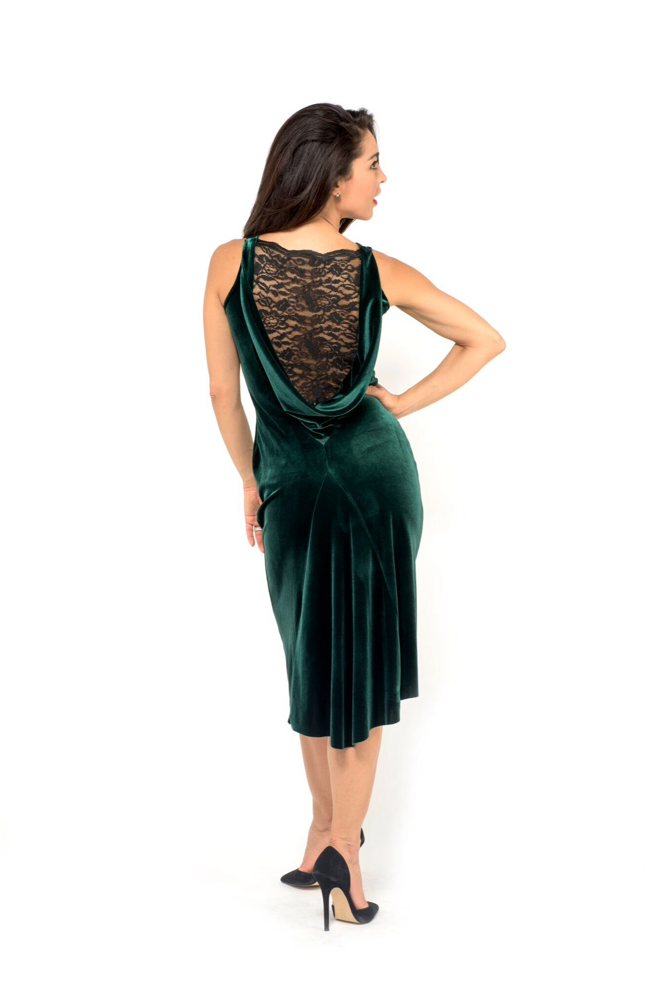 GREEN VELVET Argentine TANGO DRESS