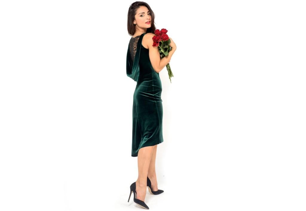 Velvet draped back tango dress