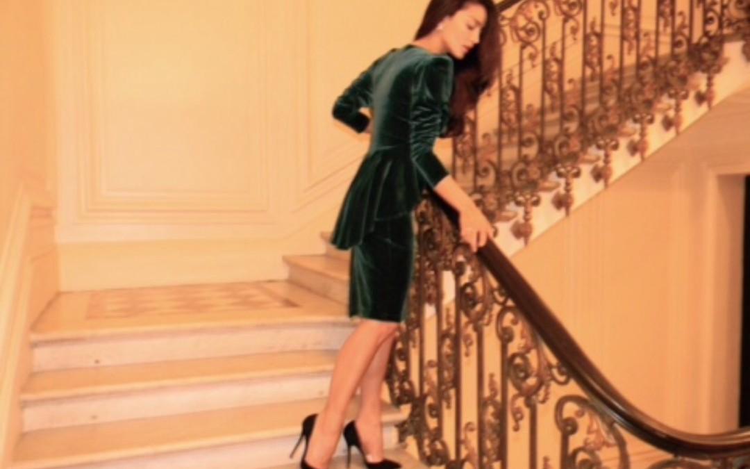 Velvet jacket and skirt in Paris!