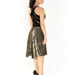Elegant tango dress, front slit, draped, velvet devore, gold