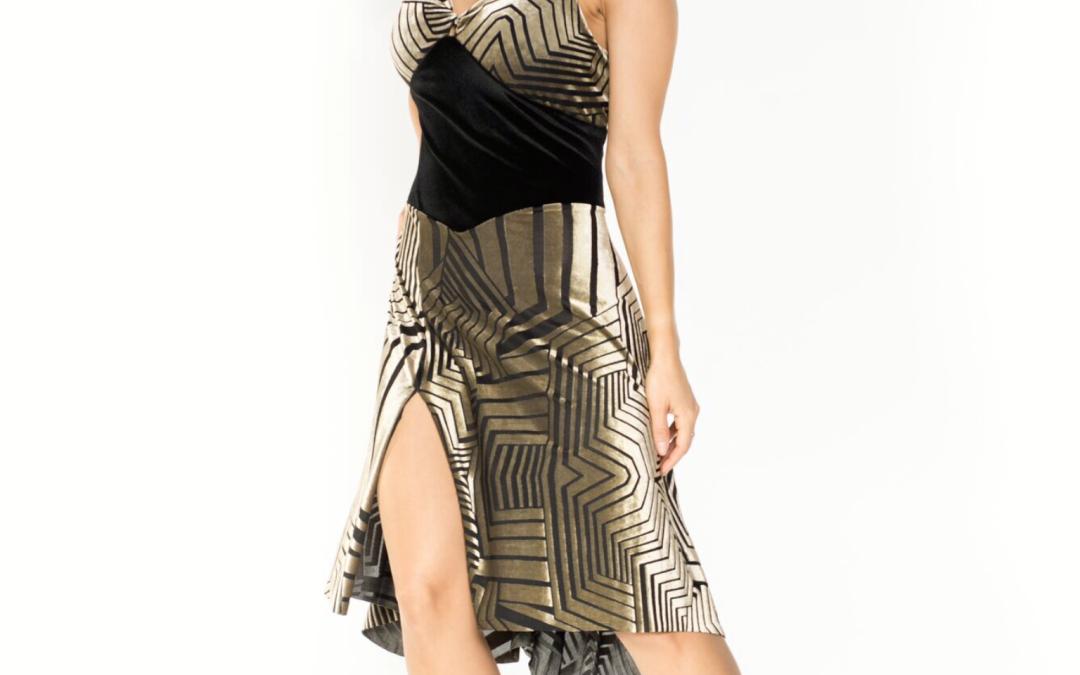 New in: Six straps velvet devore Tango dress