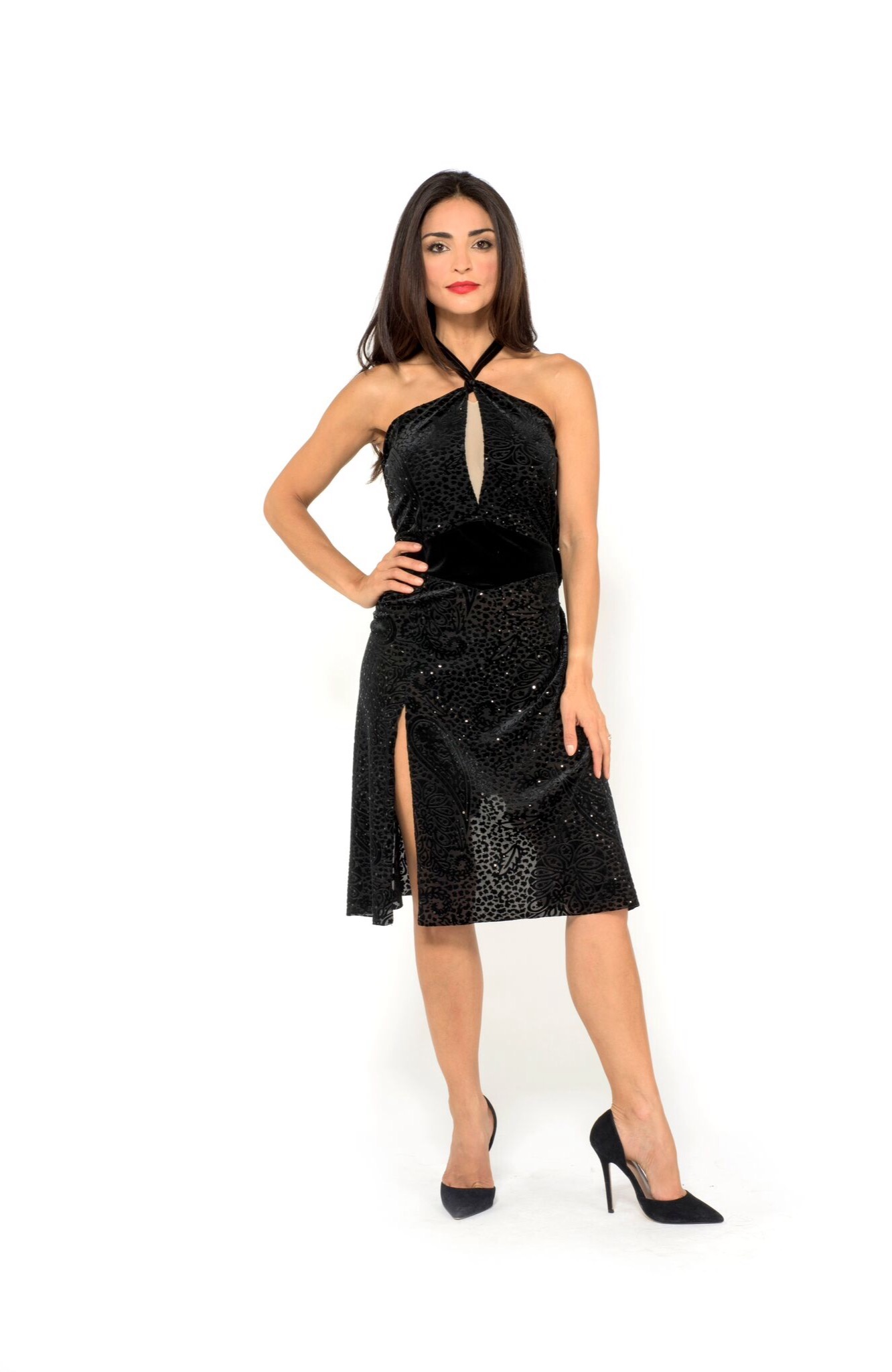 made in Italy couture Juana Sepulveda Tango dress black sequin velvet devore slit at the front
