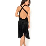 made in Italy couture Juana Sepulveda Tango dress black sequin velvet devore slit at the front