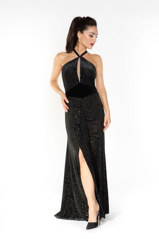 Velvet argentine tango dress made in Italy couture evening gown in black velvet devore with sequins