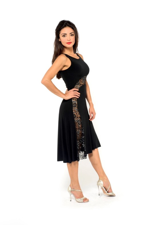 See through simple and elegant Tango dress black, black and silver lace