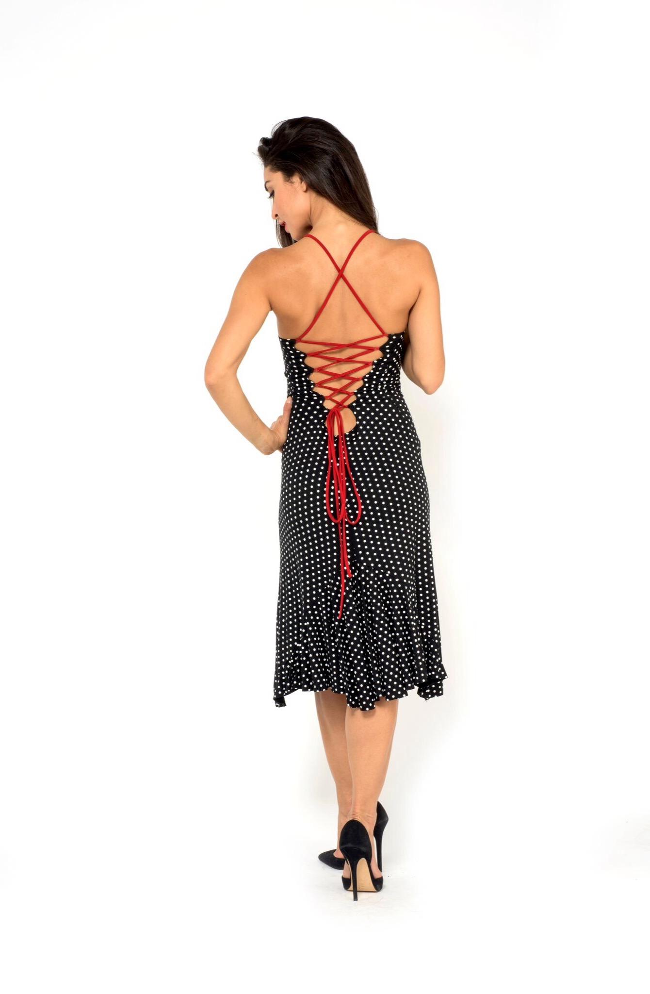 The Argentine Tango dress, polka dots, slit