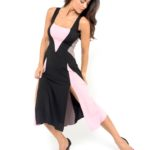 Simple and elegant Tango dress, black, pink and grey jersey