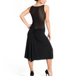 Simple neckline Tango dress black jersey and tulle