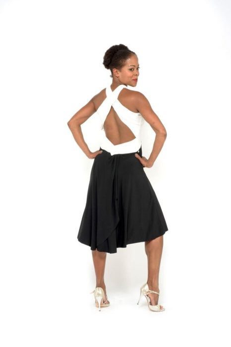 Sexy Simple tango dress black and white jersey