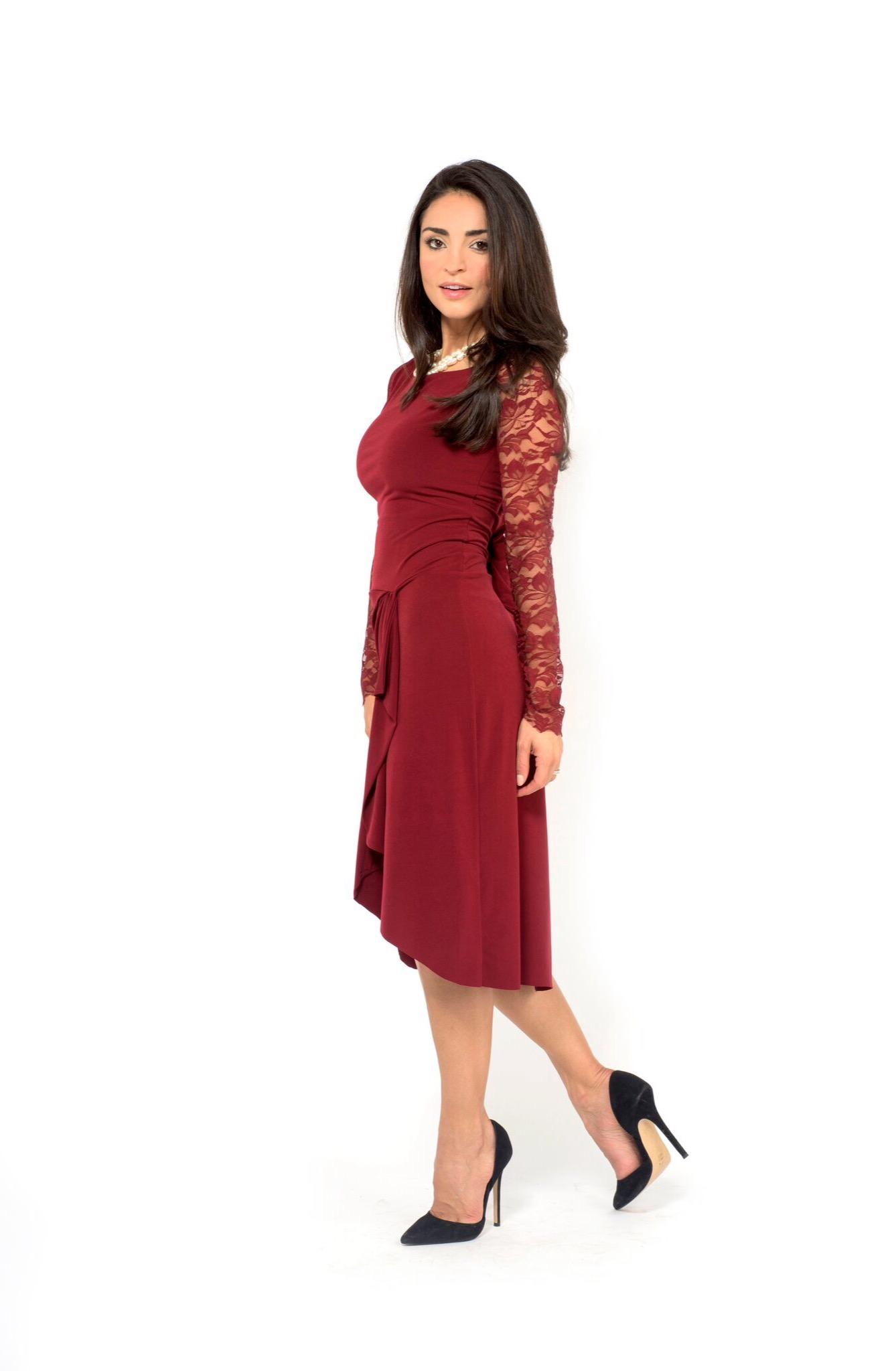 Tango dress bordeaux, long sleeves lace