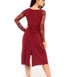 ElegantTango dress bordeaux, long sleeves lace