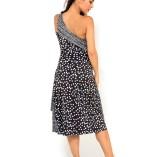 One shoulder Tango dress black and white polka dots