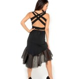 Best Tango clothing Silk organza and jersey tango skirt black