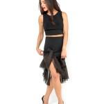 Tango clothing Silk organza and jersey tango skirt black