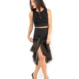 Tango clothing Silk organza and jersey tango skirt black