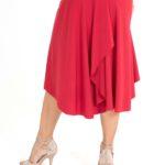 Draped back RED tango skirt red