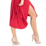 Draped back RED tango skirt red