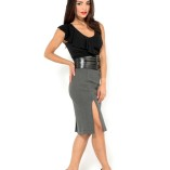 tango skirt with two slits grey