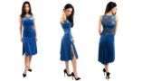 Cremona Tango dress in electric blue and lace