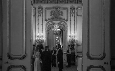 Draped back evening gown rocking at Lancaster House in London