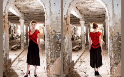 V Tango dress in red lace/black jersey
