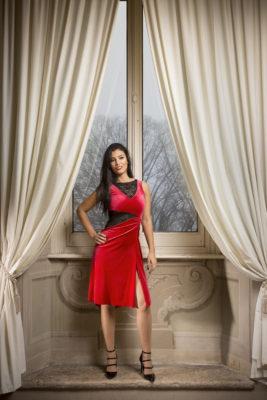 RED Argentine tango dress