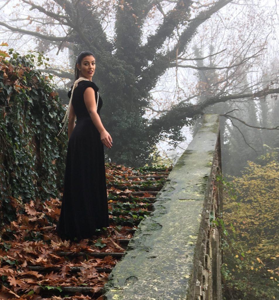 Black velvet evening gown Made in Italy