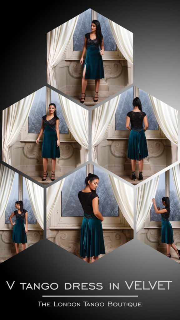TLTB's V Tango dress in VELVET! Extremely flattering cut creating the optical effect of a slimmer waist. ONLINE: https://thelondontangoboutique.com/product/v-tango-dress-in-velvet/ #tangodress #tango #madeinitaly