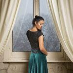 Best V tango dress - forrest green velvet black lace tango clothes