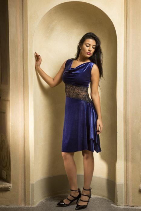 Best velvet Tango dress fine black lace