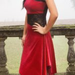 Red velvet tango dress with lace