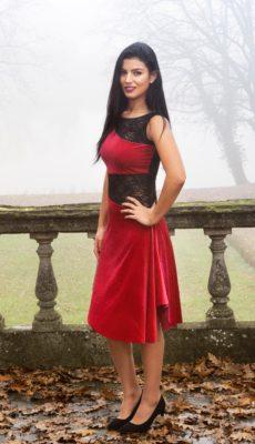 Elegant velvet tango dress