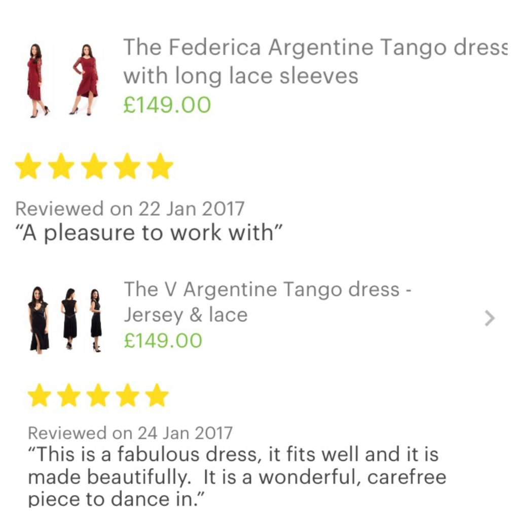 Five star reviews on etsy tango dresses