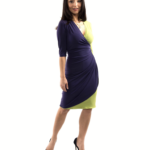 Dress that slims the figure purple and green