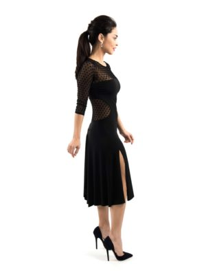 Black tango dress with polka dots tulle and sleeves