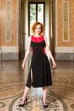 Red lace & balck jersey Argentine Tango dress