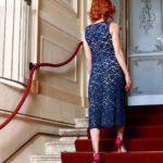 Feminine tango cotton lace dress for plus sizes L XL