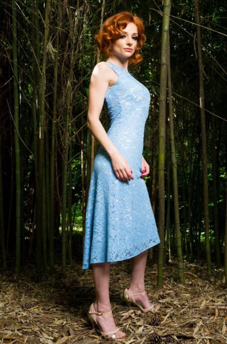 Summer tango dress in cotton lace incoral elegant and sophisitcated, ideal for a summer milonga or a garden party