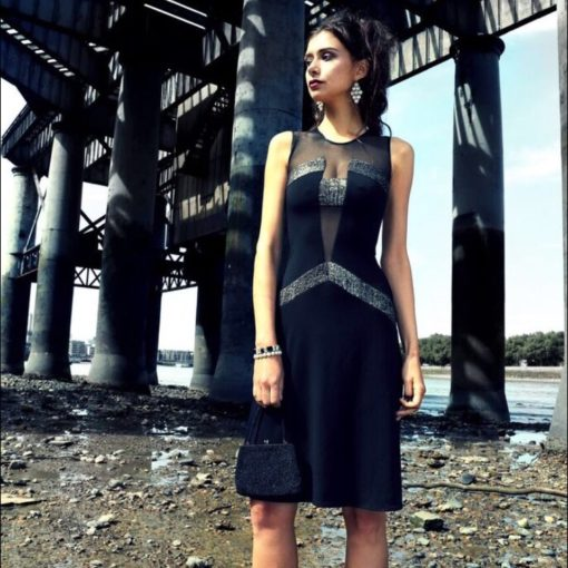 Twenties black bronze tulle dress 20s cut out dress