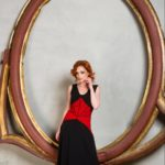 Red lace black jersey tango dress with corset